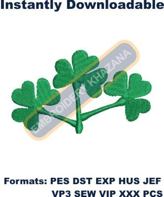 Shamrock leaf embroidery design