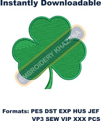 Shamrock leaf  embroidery designs