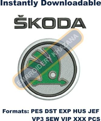 Skoda car logo embroidery design