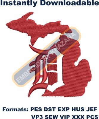 Detroit D Michigan instant embroidery design