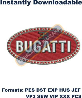 Bugatti car logo embroidery design