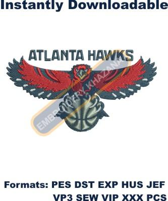 Atlanta Hawks team logo embroidery design