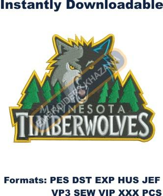 minnesota timberwolves logo embroidery design