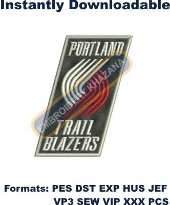portland trail blazer logo embroidery design