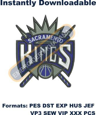 sacramento kings logo embroidery design