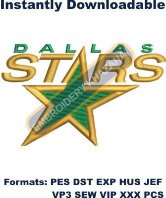 dallas stars logo embroidery design