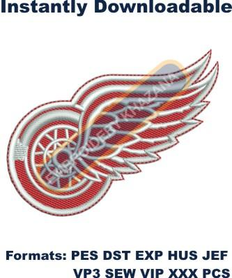 Detroit Red Wings logo embroidery design