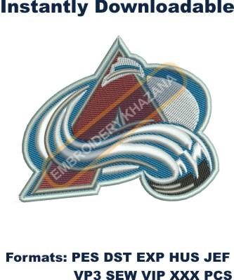 colorado avalanche logo embroidery design