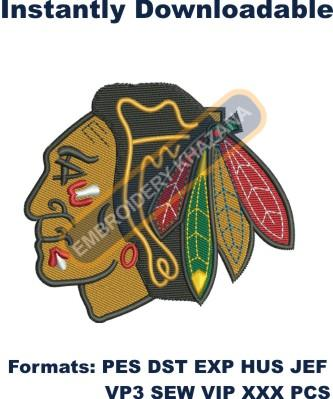 chicago blackhawks logo embroidery design