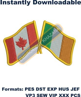 Canadian Irish Flag embroidery design
