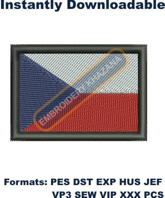 Czech Republic flag embroidery design