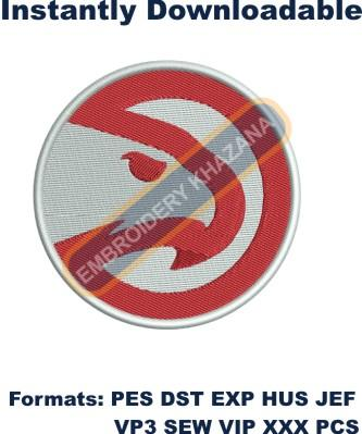 Atlanta Hawks logo embroidery design