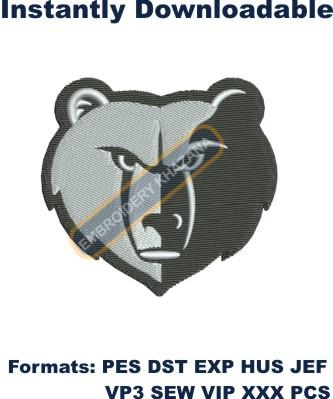 memphis grizzlies logo embroidery design