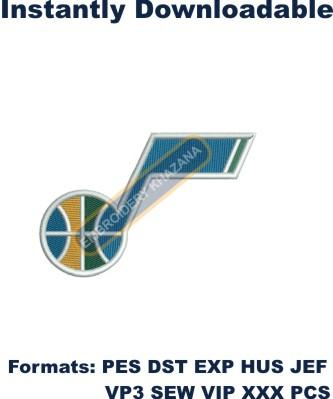 utah jazz logo embroidery design