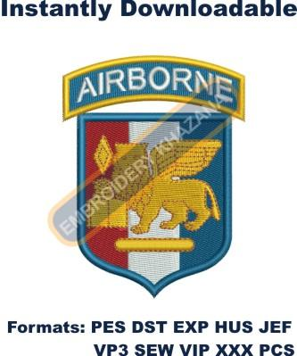 Airborne army embroidery design