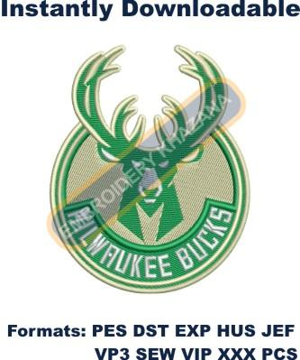 milwaukee bucks instant logo embroidery design