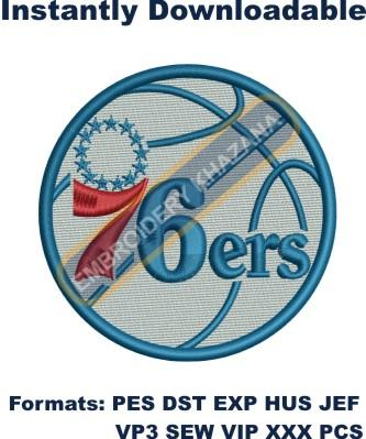 philadelphia 76ers logo embroidery design