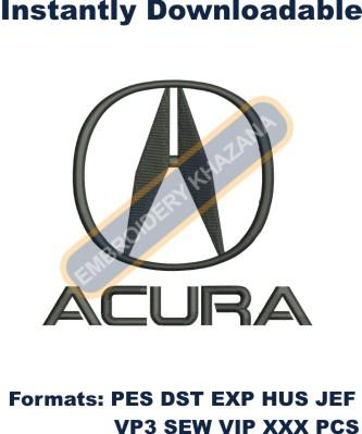 Acura logo 5inches embroidery design