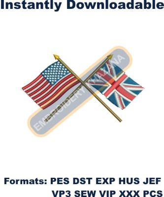 British American Flags embroidery design