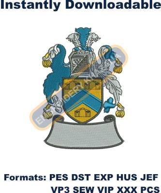 Family crest coat of arms embroidery design