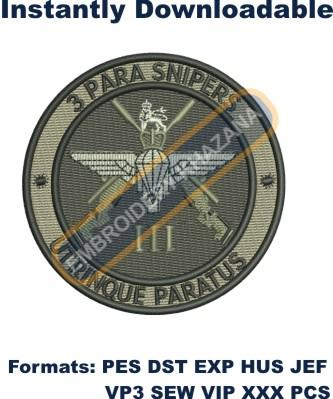 3 Para Snipers crest embroidery design