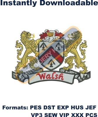 walsh coat of arms embroidery design