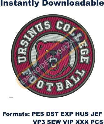 Ursinus College football logo embroidery design