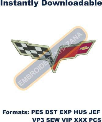 Corvette Flag back size embroidery design