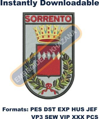 sorrento coat of arms embroidery design