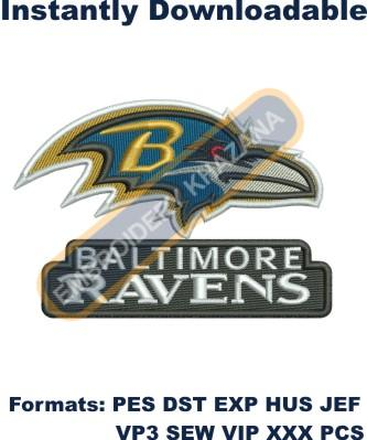 Baltimore ravens logo embroidery design