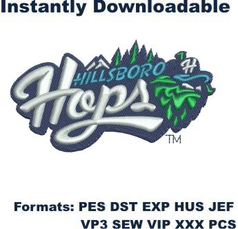 hillsboro hops wordmark logo embroidery design