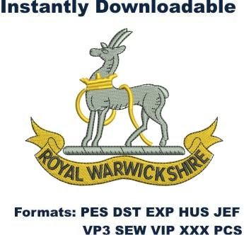 The Royal Warwickshire Regiment embroidery design