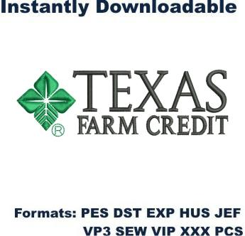 Texas Farm credit Logo embroidery design