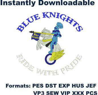 Blue Knights embroidery design