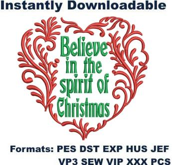 Believe in the Spirit of Christmas Embroidery Designs