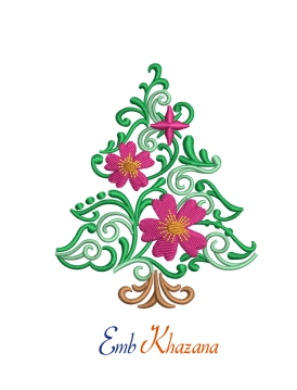 Floral Christmas Tree Embroidery Designs