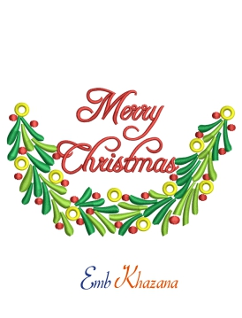 Merry Christmas Floral Embroidery Designs