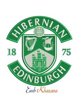 Hibernian football club logo embroidery design