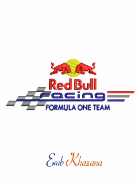 red bull racing formula one team logo embroidery design