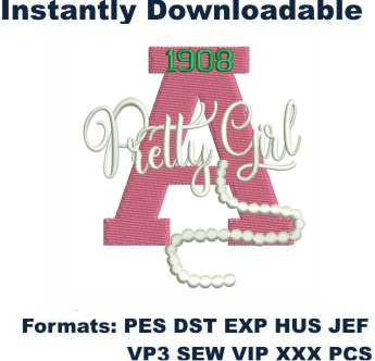 AKA 1908 Pretty Girl Embroidery Design