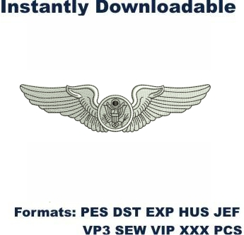 Air Force Enlisted Aircrew Wings Embroidery Design