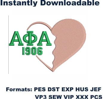 Alpha Kappa Alpha 1908 Logo Embroidery Design