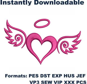 Angel Wings Heart Embroidery Designs