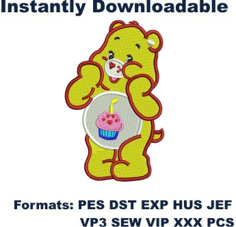Bear with Birthday Cake embroidery designs