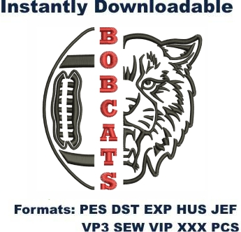 Bobcots Football Embroidery Designs