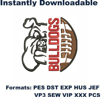 Bulldogs Football Embroidery Designs