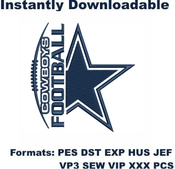 Dallas Cowboys Football Logo Embroidery Design