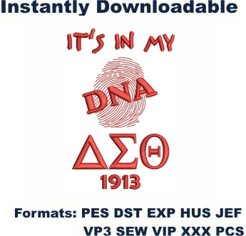 Delta Sigma Theta DNA Embroidery Design
