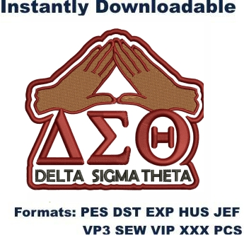 Delta Sigma Theta Love Hand Embroidery Design