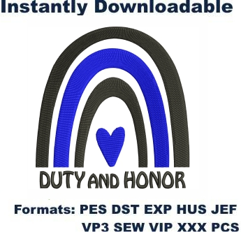Thin Blue Line Duty And Honor Embroidery Designs